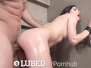LUBED Wet Tight Pussy Pounded In The Shower