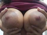 LATINA shows her BIG NATURAL TITS up close (DRIPPING MILK )