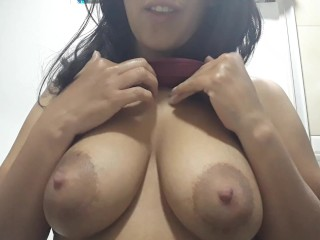 LATINA shows her BIG NATURAL TITS up close (DRIPPING MILK
