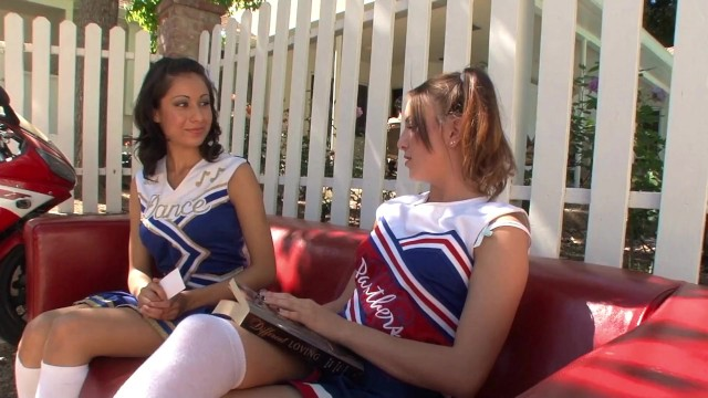 Hot college cheerleaders having sex Small tits teen cheerleaders have sexytime after the practice in the garden