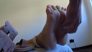 MILF LOVES TO BE TICKLED!!! Tied cute soles oiled and tickled She loves it