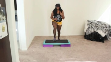 Ebony Goddess step aerobics exercise
