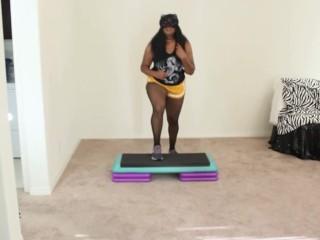 Ebony Goddess step aerobics exercise