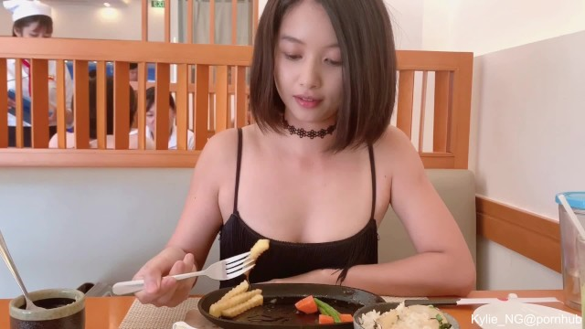 Modern asian restaurants - Cute asian girl flashing butt plug and quick pee at a restaurant kylie_ng
