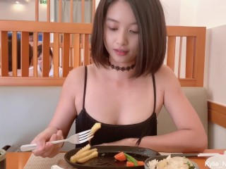 Cute Asian Girl Flashing Butt Plug and Quick Pee at a Restaurant (Kylie_NG)