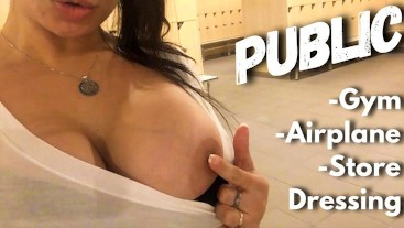 Compilation Public - Gym, Airplane ✈️ old castle, Masturbating in a store