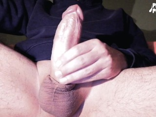 Stroking my hard thick dick