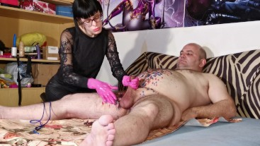 Beth Kinky - CBT for wax tortured slave by his goth mistress HD