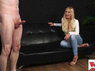Stunning big tittied blonde watching wank