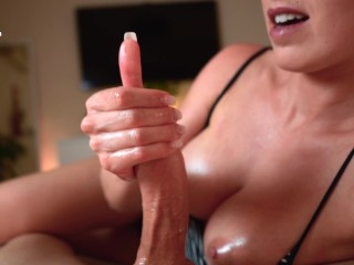 Extremely hot giiend with perfect tits jerks my cock