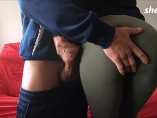 she takes advantage that he is shy but is touched and raises his cock