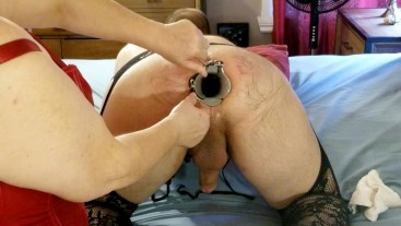 OPENING UP HIS CAVERNOUS ASSHOLE WITH DOUBLE SPECULUM AND TOYS