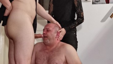 Beth Kinky - Sexy goth domina help her Dad to fuck slave's mouth HD