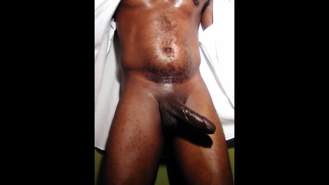 Black banana curved dicks Security guard with a big fat black curved uncut cock and huge balls