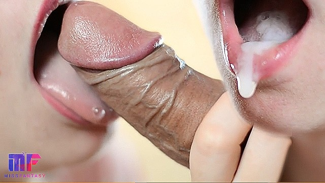 Blowjob oral creampie close-up