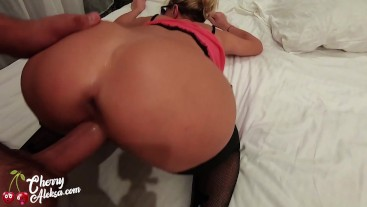 MILF Suck Big Cock and Hard Doggy Sex - Creampie Closeup