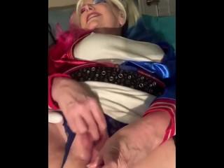 HarleyQuinn uses ass toy and rubs clit till cums