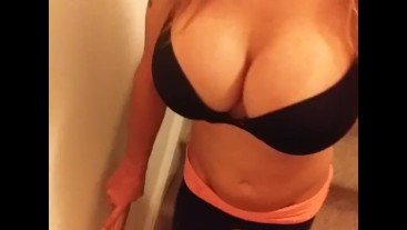 Big Busty Fake tits Shemale Kimberly George walking Down Stairs at Home