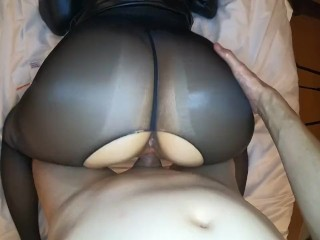 Milf in sexy oil pantyhose