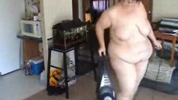 BBW vacuuming in the Nude Lots of big ass bending over shots - Not HD