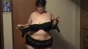 BBW slowly strips nude shows off big ass, big tits part 2 - Not HD Quality