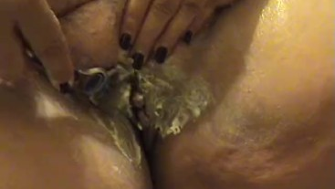 BBW granny shaving fat hairy pussy - up close camera - Not HD quality
