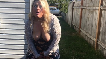 Kady has multiple eye rolling orgasms outside with cars driving by