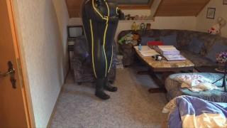 Cyborg Heavy Rubber Bodysuit Inflation