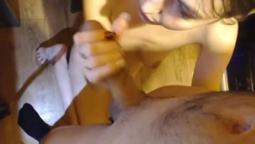 Throat Blowjob babe in action