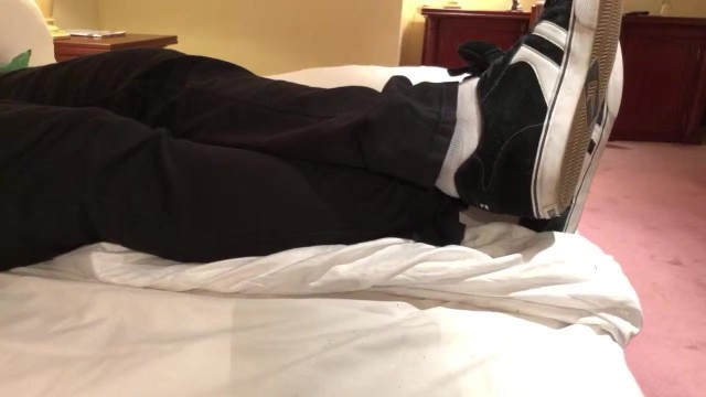 Soft bottom dress shoes Male dress shoes, nikes, globes and white socks shoeplay in a nice hotel