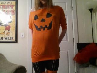 Trans Girl in Skeleton Boocking for Halloween