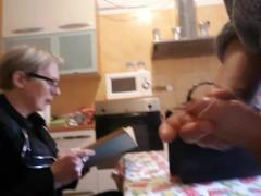 Flash huge cock in front granny teacher read book