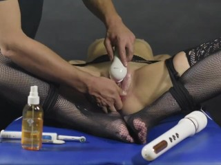 Clit brush edging game-Post orgasm torture