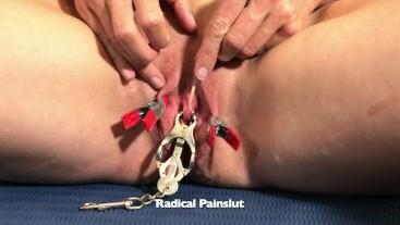 Submissive Painslut Tortures Clit Clamps & Sucker (Elise Graves Tribute)