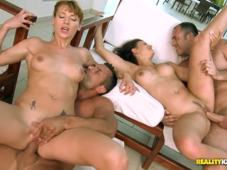 RealityKings Euro babes Katia Victoria have an orgy by the pool Victoria Daniels