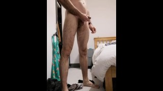 Hot guy strips and blows a huge load