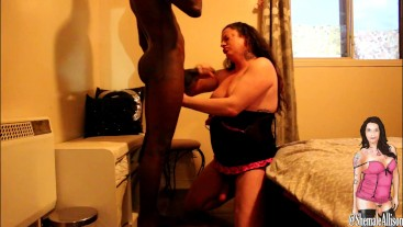 Shemales deep throats BBC cums all over it before he cums on her cock