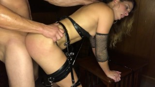 Leather garters pt3: bent over hard pounding and face fucking