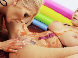 Gorgeous Teens Enjoy Licking Each Other Pussy while Playing Oil Wrestling