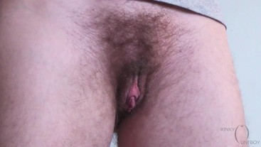 Pussy haircut to expose huge ftm clit while standing