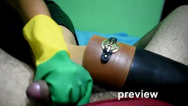 Blowjob in rubber Gloves & Bootjob in leather riding boots (PREVIEW)