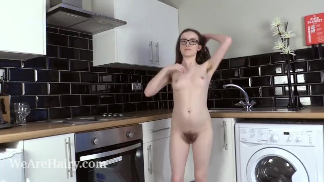 Redhead nude hairy Billie rae strips nude in her kitchen today