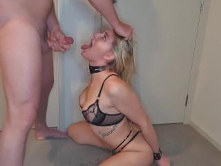 Submissive slut gives sloppy head and gets her face splattered