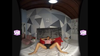 VR clara plays with ice and enjoys all sensations