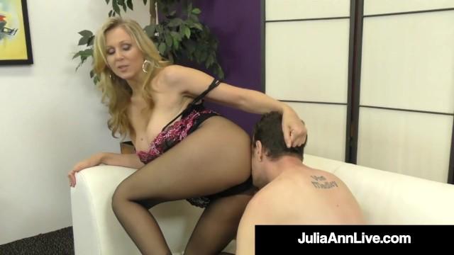 Celeste julia ann porn star - Sexy dominating cougar julia ann pleasured cock with stocking clad feet