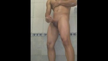 Young Latino takes a shower to masturbate solo - BlackMrqz94