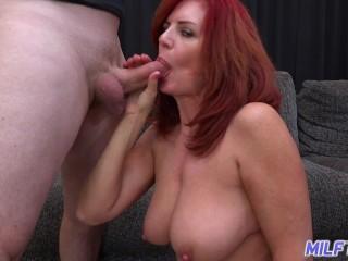 MILFTRIP Huge Tit Red Head MILF Deep Throats Big Dick Neighbor
