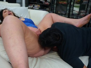 BBW white girl rubs her clit he licks her pussy hole she cums in his mouth