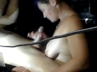 Awesome blowjob and facefucking blue haired milf that loves big dick