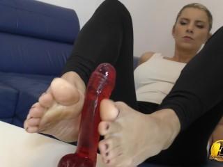In blue high heels shoe play and next feet job with red dildo Katerina Hartlova, Katrin Kozy